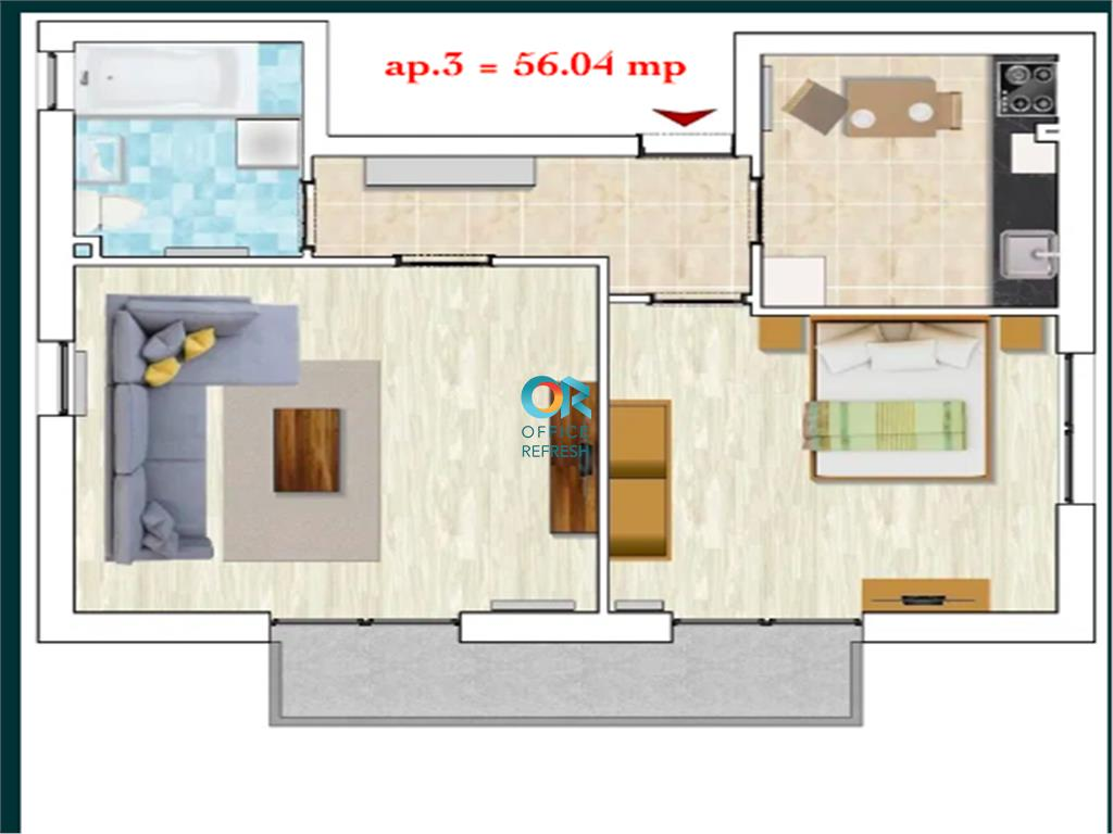 Apartament de 2 camere de vanzare - Borhanci