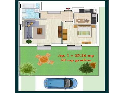 Apartament de 2 camere de vanzare cu gradina - Borhanci