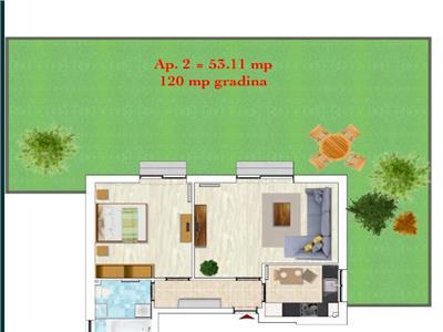 Apartament de 2 camere de vanzare cu gradina de 120 mp