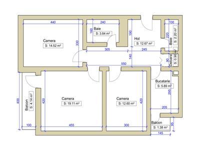 Apartament 3 camere de vanzare, Central, 0% Comision